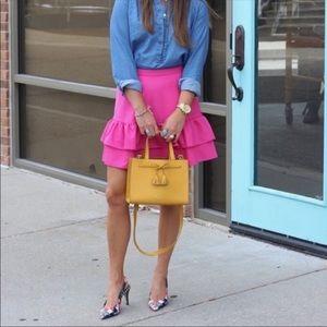 J. Crew | Wool Flannel Ruffle Skirt in Pink
